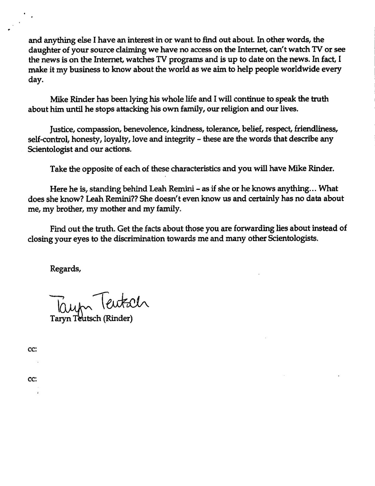 Mike Rinder Letter 5, Page 1